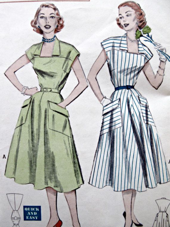Vintage Butterick 6111 Sewing Pattern, 1950s Dress Pattern, Full ...