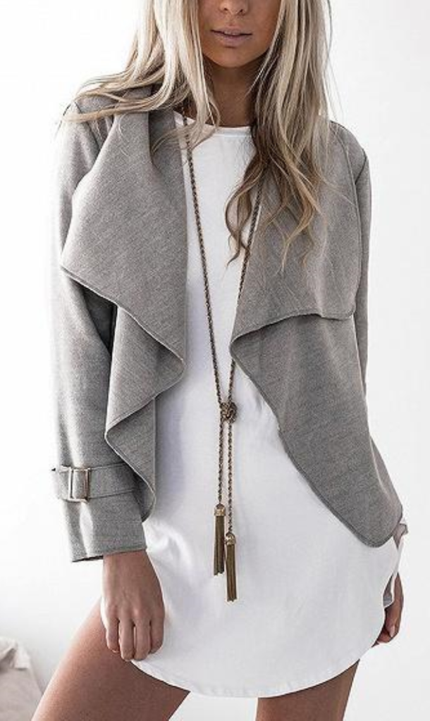 Lapel Long Sleeve Open Waterfall Front Coat Fashion Long Sleeves Jacket Plain Jacket