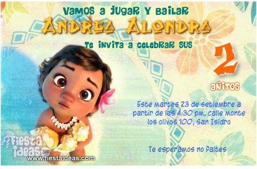 Invitaciones De Moana Bebe Invitaciones De Moana
