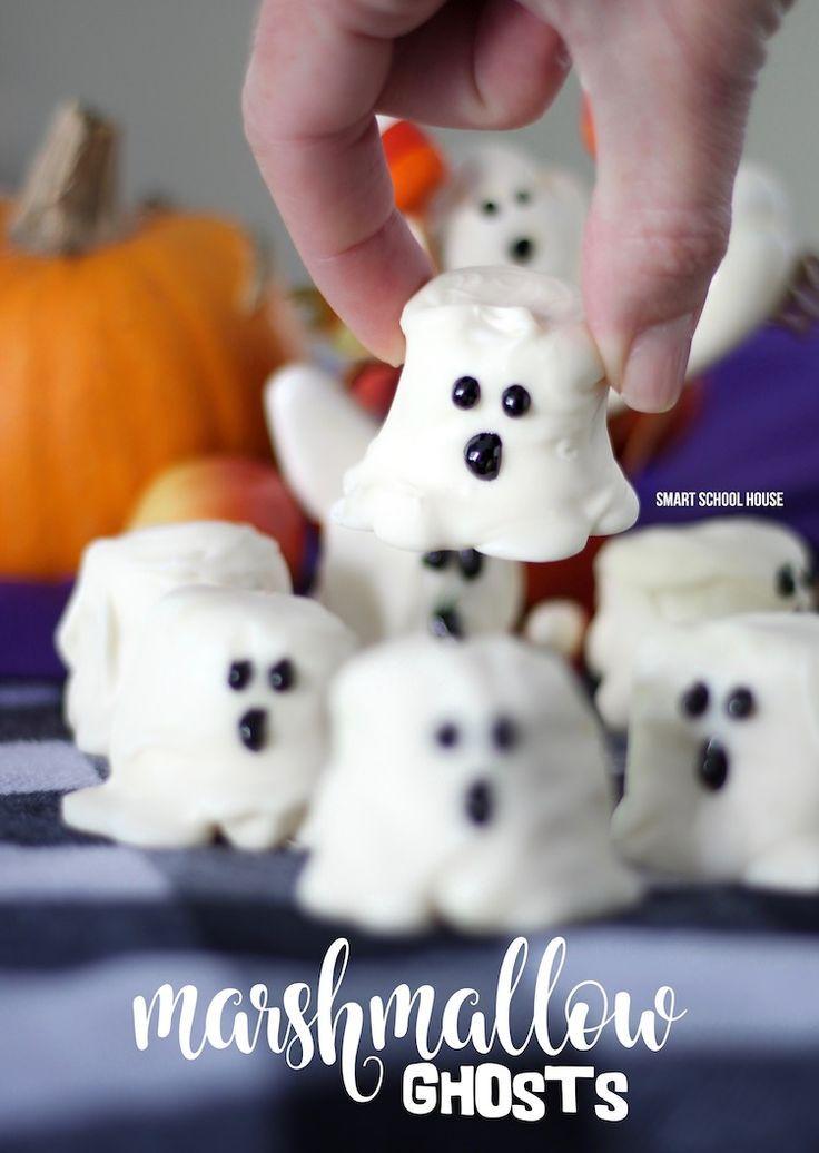 Marshmallow Ghosts   Comidas dulces, Bocados y Halloween
