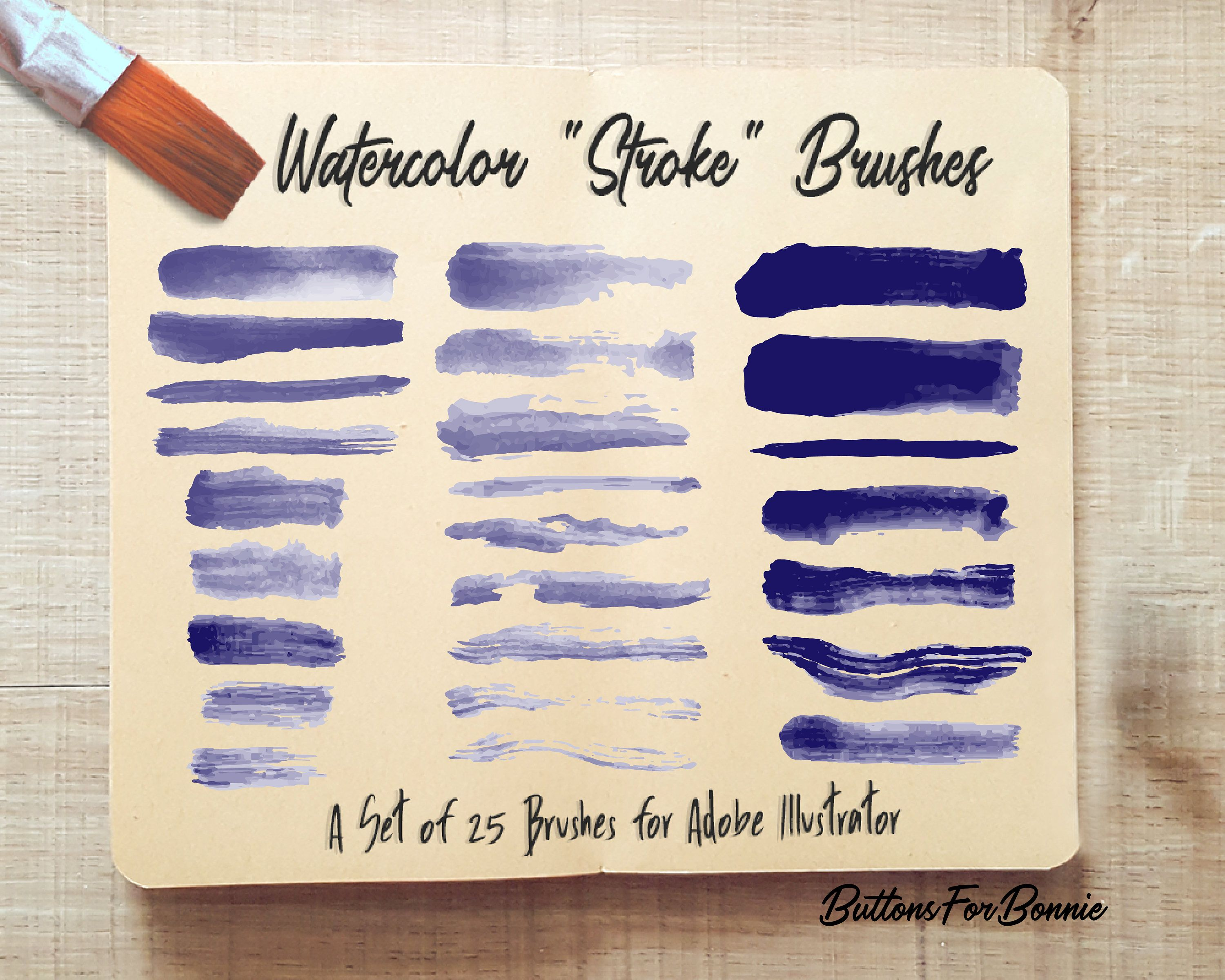 25 Watercolor Stroke Brushes For Adobe Illustrator Vector Brushes