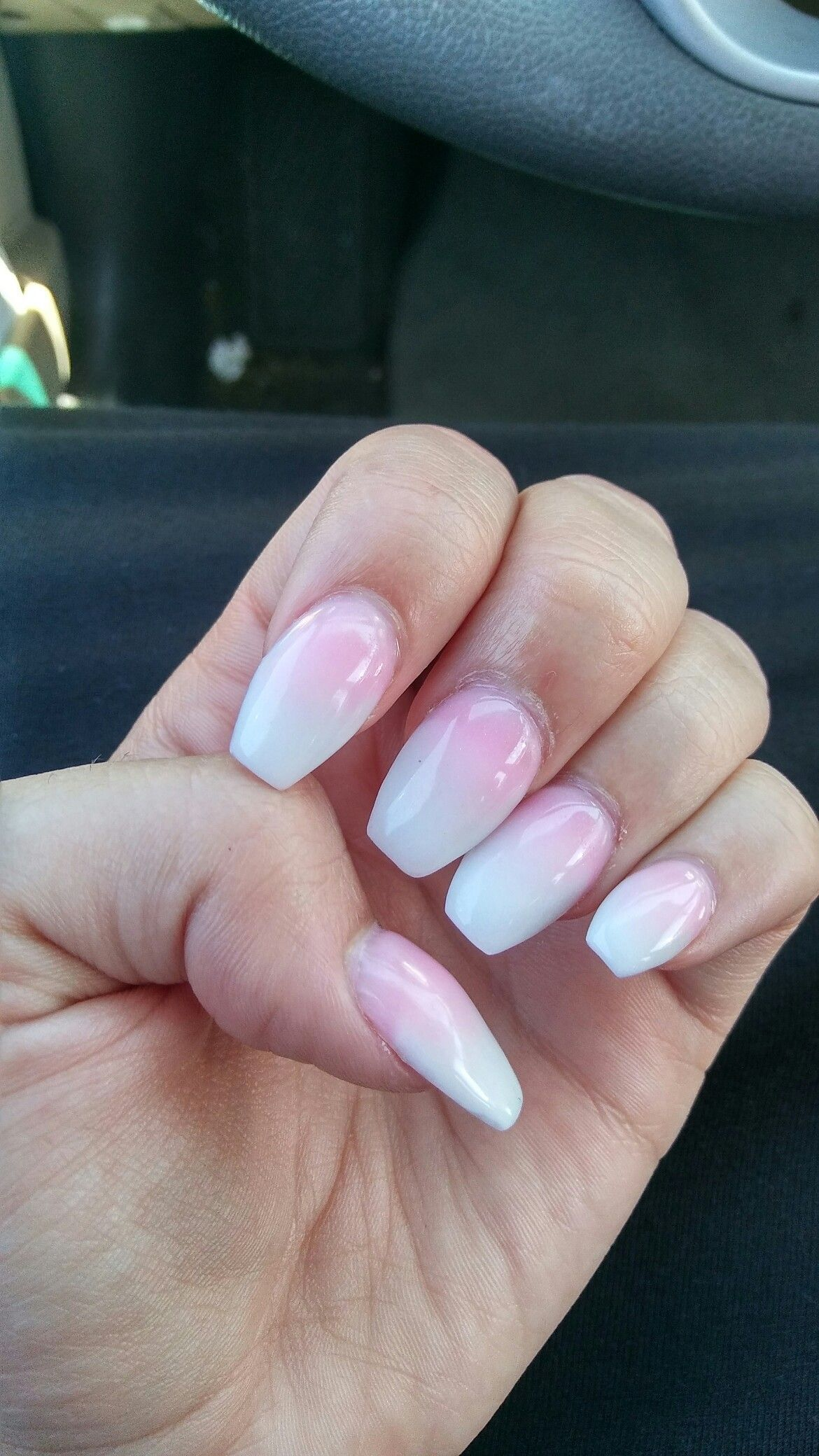 Short coffin acrylic nails. Pink and white ombre. # ...
