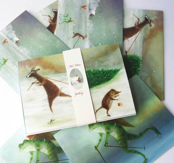 Set of 6 Litus Gallery Christmas Cards by TheLitusGallery on Etsy