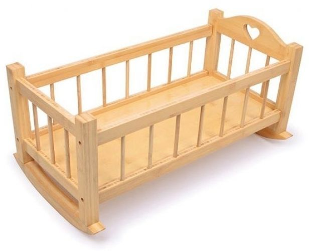 Wooden Doll Rocking Cradle Cot Crib Girls Baby Children Kids