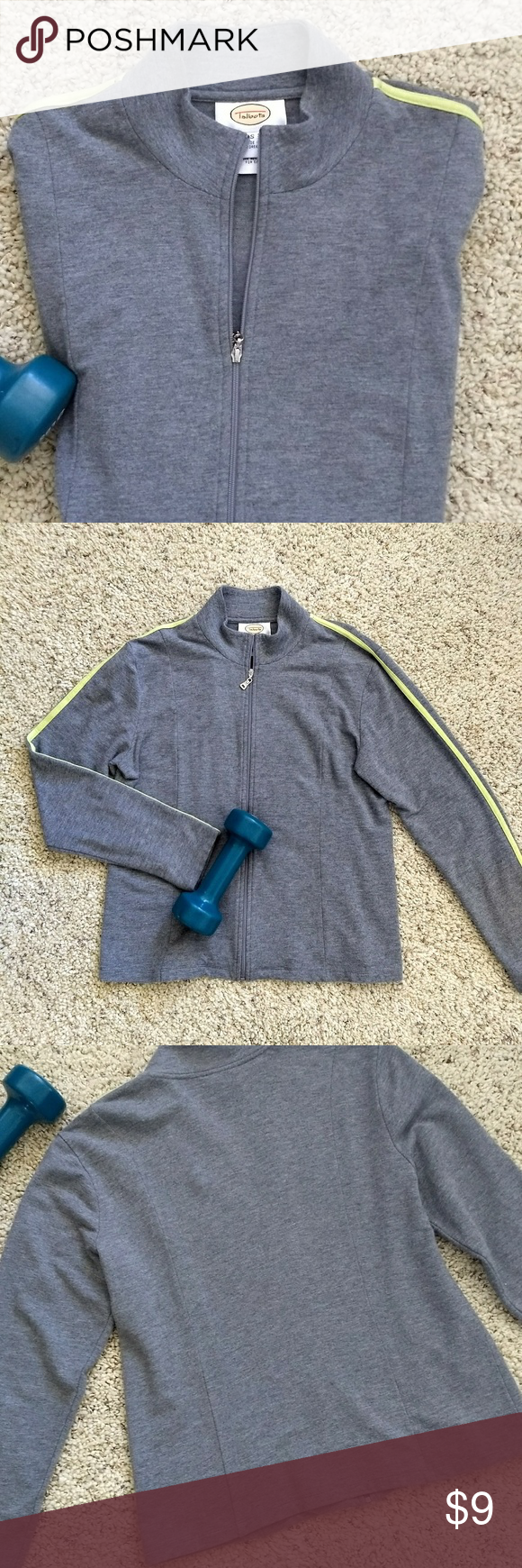 """Lightweight Athletic Jacket Size S Lightweight & Soft,  Grey Athletic Style Jacket with yellow stripe detail along shoulder and sleeves Zipper closure 60% Rayon/31% Cotton/3% Cotton Machine Washable Great pre-owned condition Length from shoulder to hem: approx 23"""" Sleeve length: approx 22"""" Talbots Jackets & Coats"""