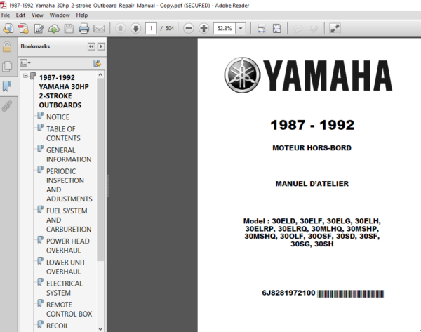 1987 1992 Yamaha 30hp 2 Stroke Outboard Repair Manual Repair Manuals Outboard Yamaha