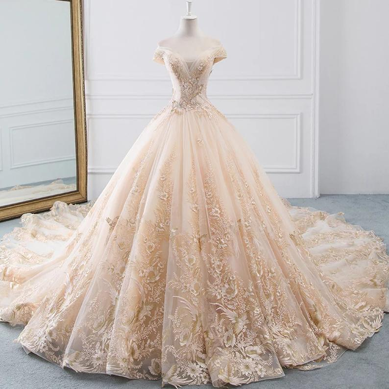 Chloe Off Shoulder Beaded Bodice Ball Gown Wedding