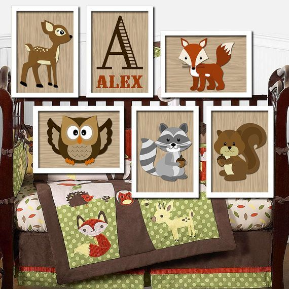Woodland Boy Wall Art Nursery Artwork Child Forest Animal Deer Owl Squirrel Raccoon FOX Monogram Initial Name Set Of 6 Prints Baby Decor