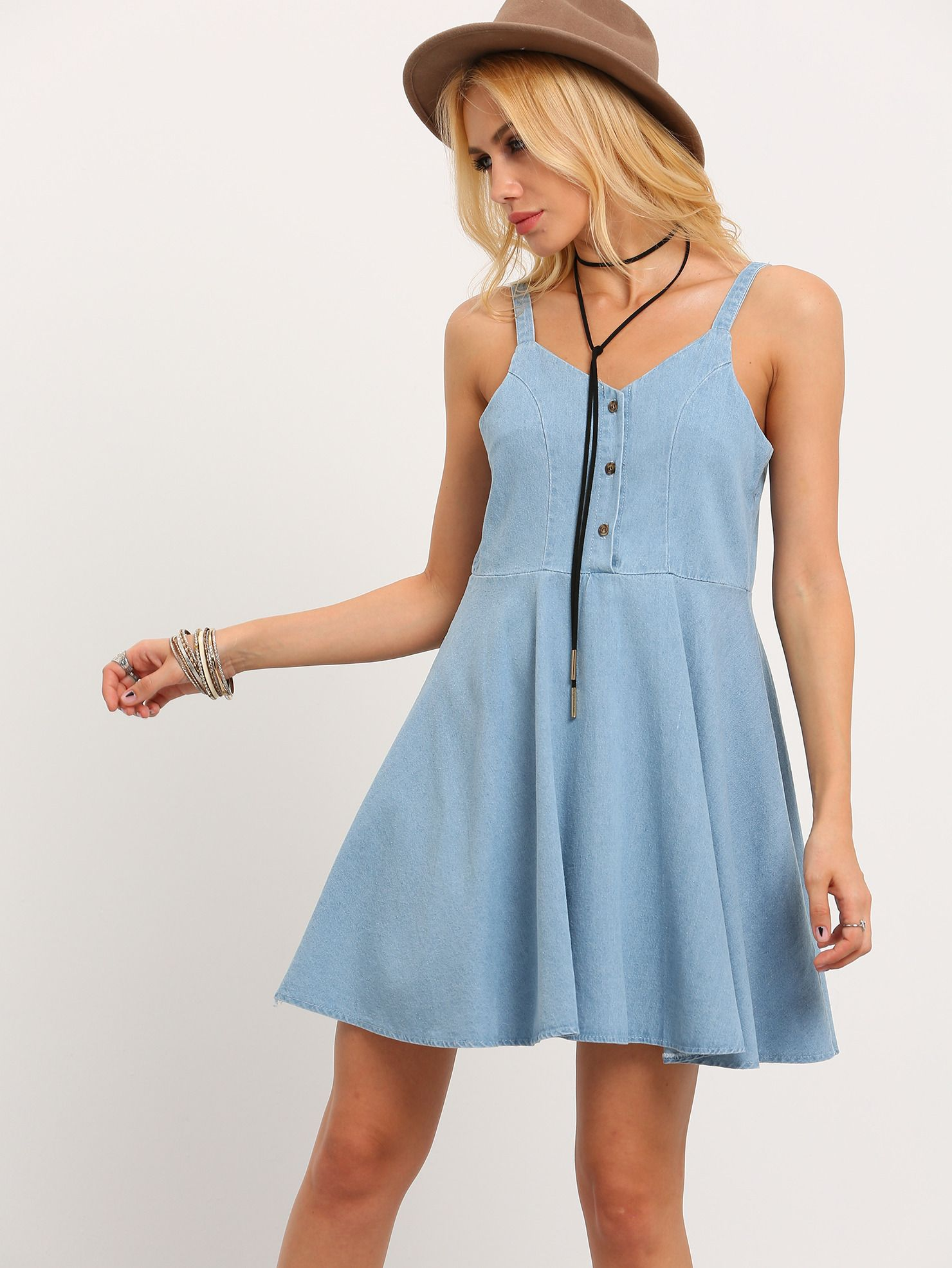 cd70afc664 Shop Buttoned Front Denim Skater Dress online. SheIn offers Buttoned Front  Denim Skater Dress   more to fit your fashionable needs.