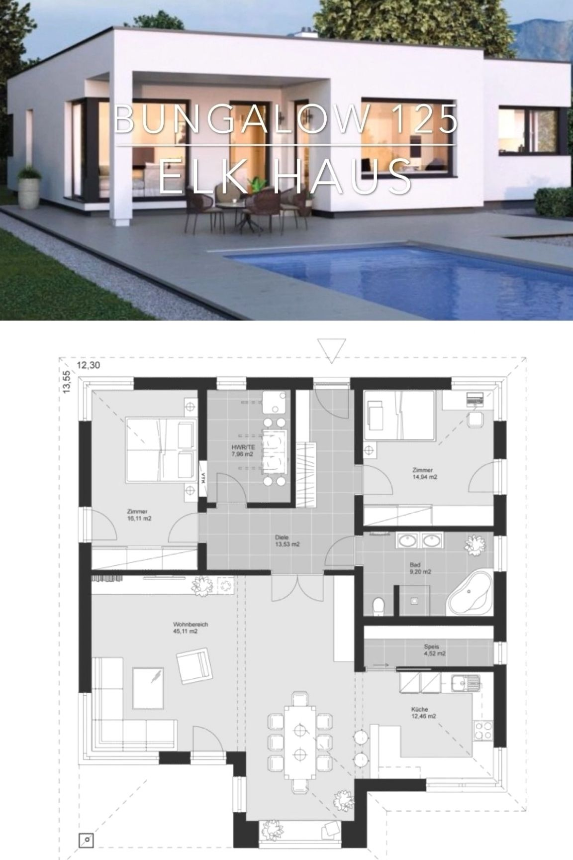 Modern One Story House Plan Architecture Interior Design Elk Bungalow 125 In 2020 Layout Architecture House Architecture Design Contemporary House Plans