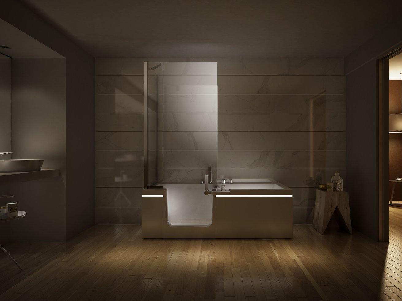 Baignoire avec douche pr t porter by teuco design jean michel wilmotte accessibilite - Baignoire douche design ...