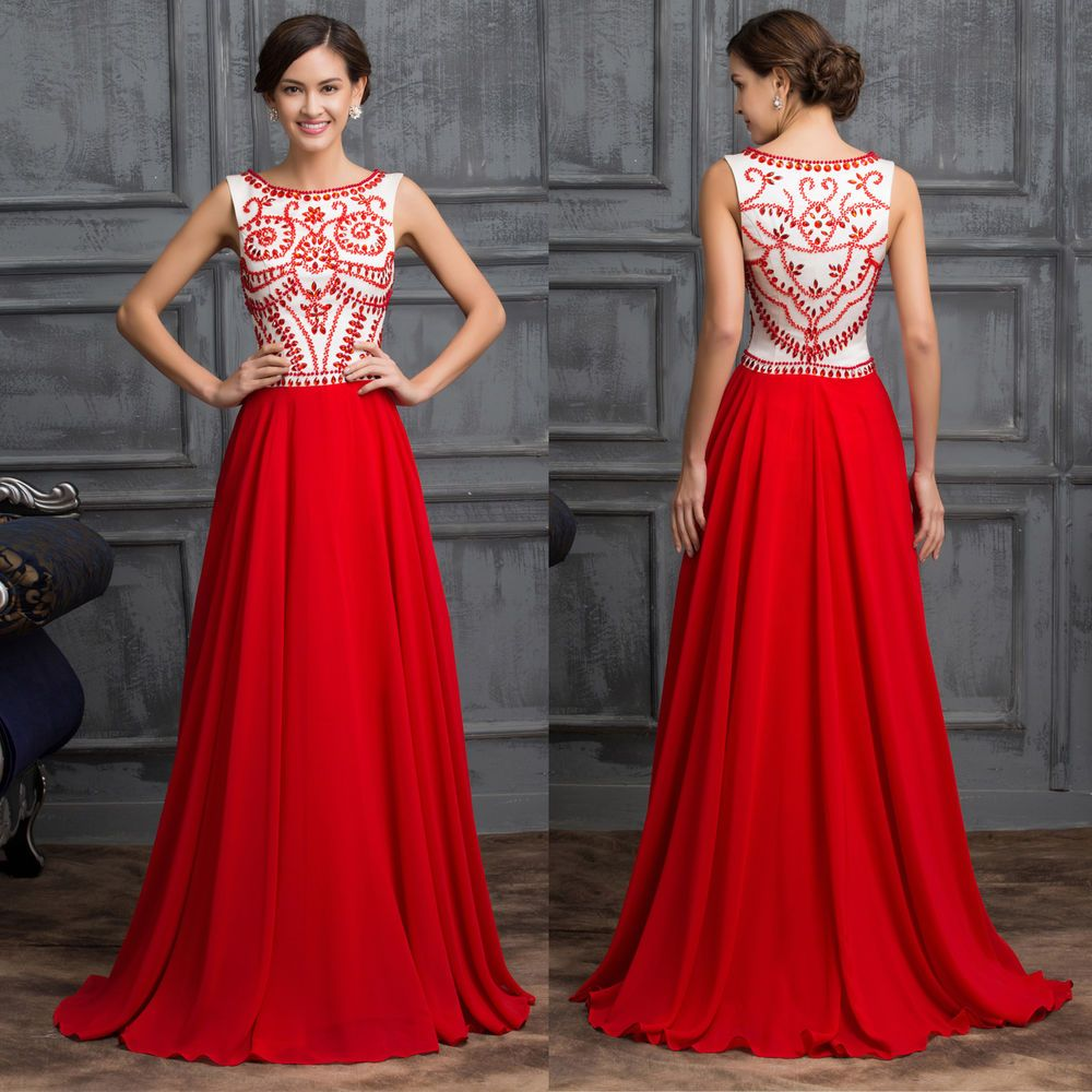 VINTAGE RED Chiffon Evening Party Dress Wedding GOWNS Formal Long Prom Dresses