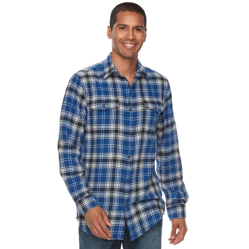 Flannel cardigan womens  Big u Tall SONOMA Goods for Lifeâue SlimFit Plaid Stretch Flannel
