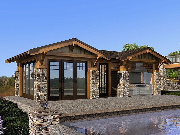 Pool House Cabana Plans: 035P-0001: Pool Cabana With Full Bath And Kitchenette