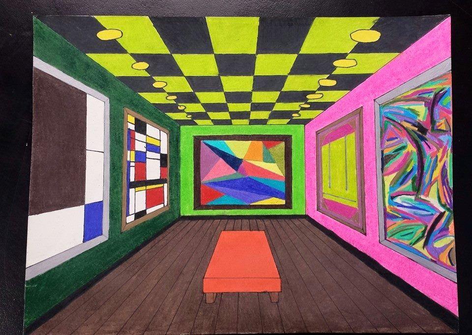 One Point Perspective Museum Interior. Art Teacher Michele ...