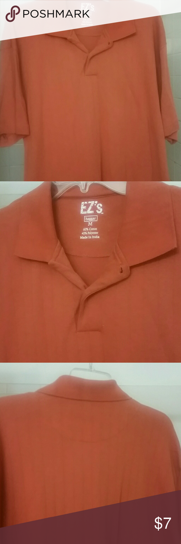 987914e86 Haggar Men s Shirt Burnt orange mens short sleeve polo shirt. Excellent  condition. Threaded piping. Length is 28 1 2 inches Haggar Shirts Polos