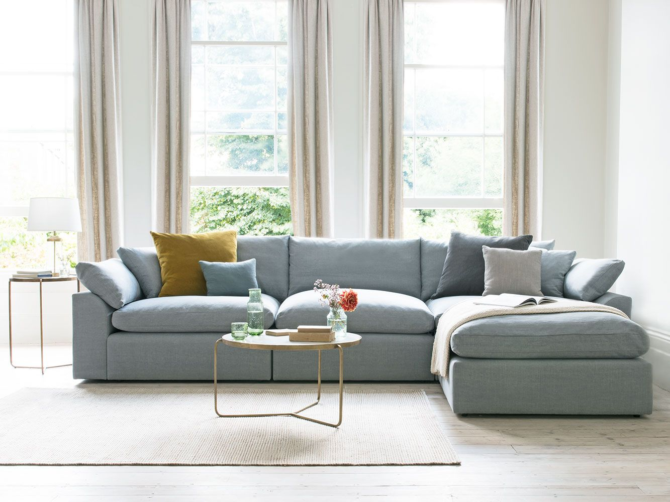 Cuddlein Modular Chaise Sofa In Our Magnesium Washed Cotton Linen
