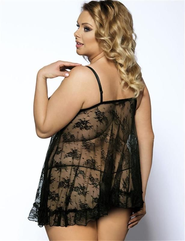 57d44bf20 Black See Through Sexy Lingerie Plus Size Women Nightwear Hot Sale ...