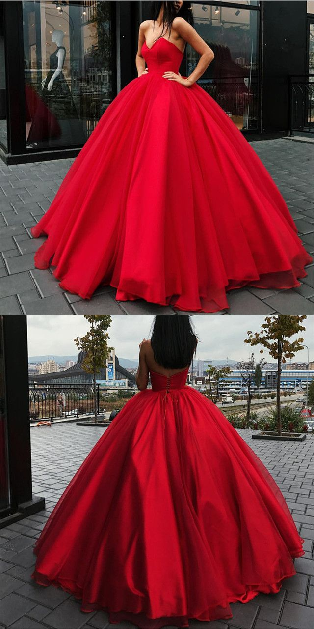 Red ball gown wedding dress  Strapless Bodice Corset Red Tulle Ball Gowns Wedding Dresses