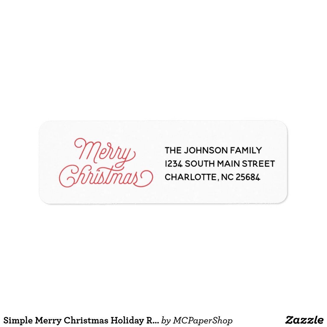 simple merry christmas holiday return address label meredith
