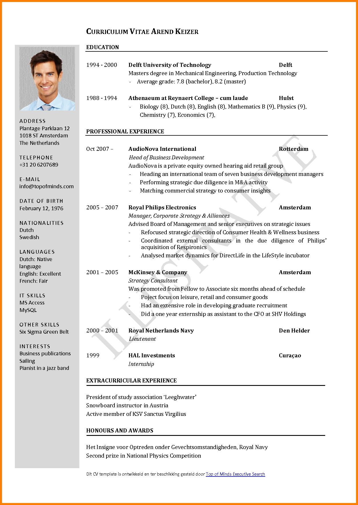 Resume Letter In English Example
