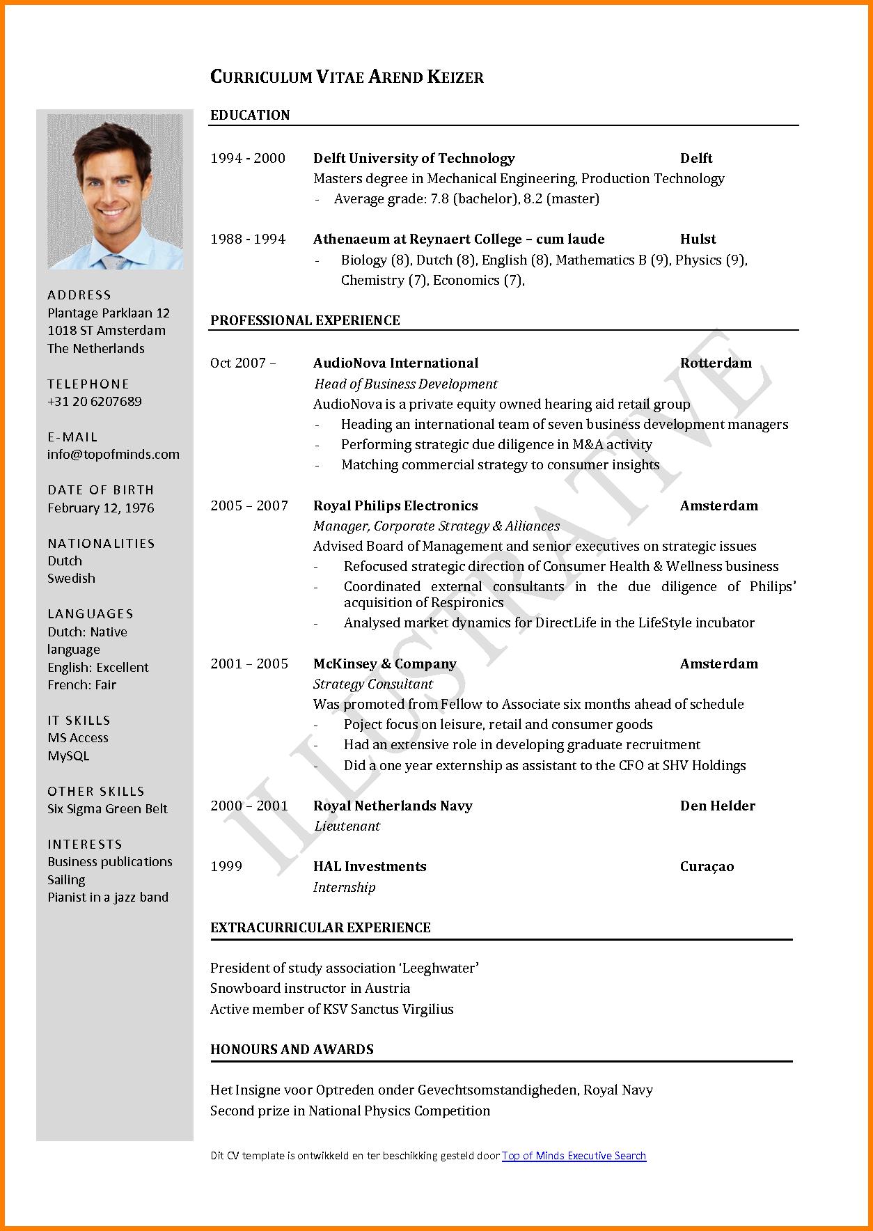 cv en anglais exemple pdf