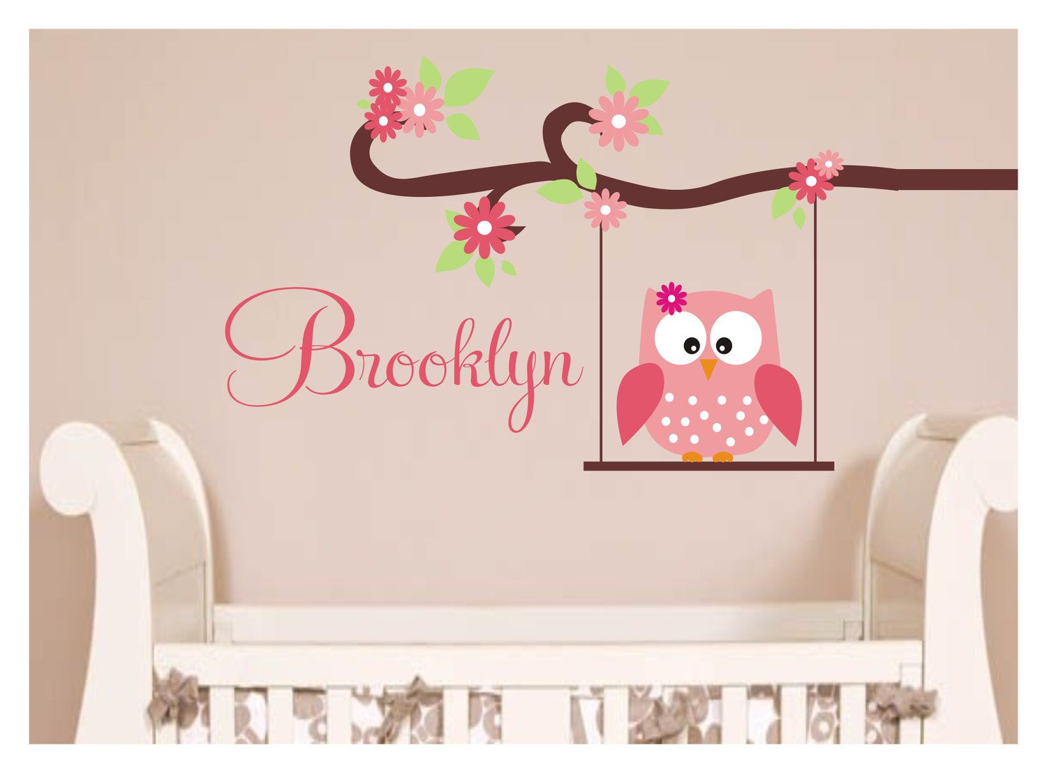 Owl Decal Monogram Childrens Wall Decals Nursery Wall Decals - Monogram wall decals for nursery
