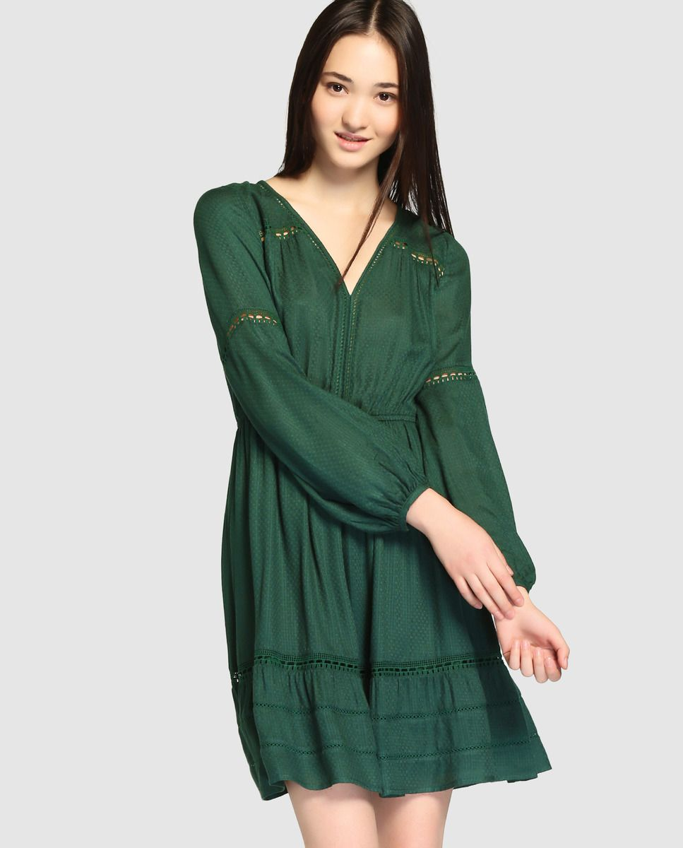 Vestido de mujer tintoretto verde con bordado