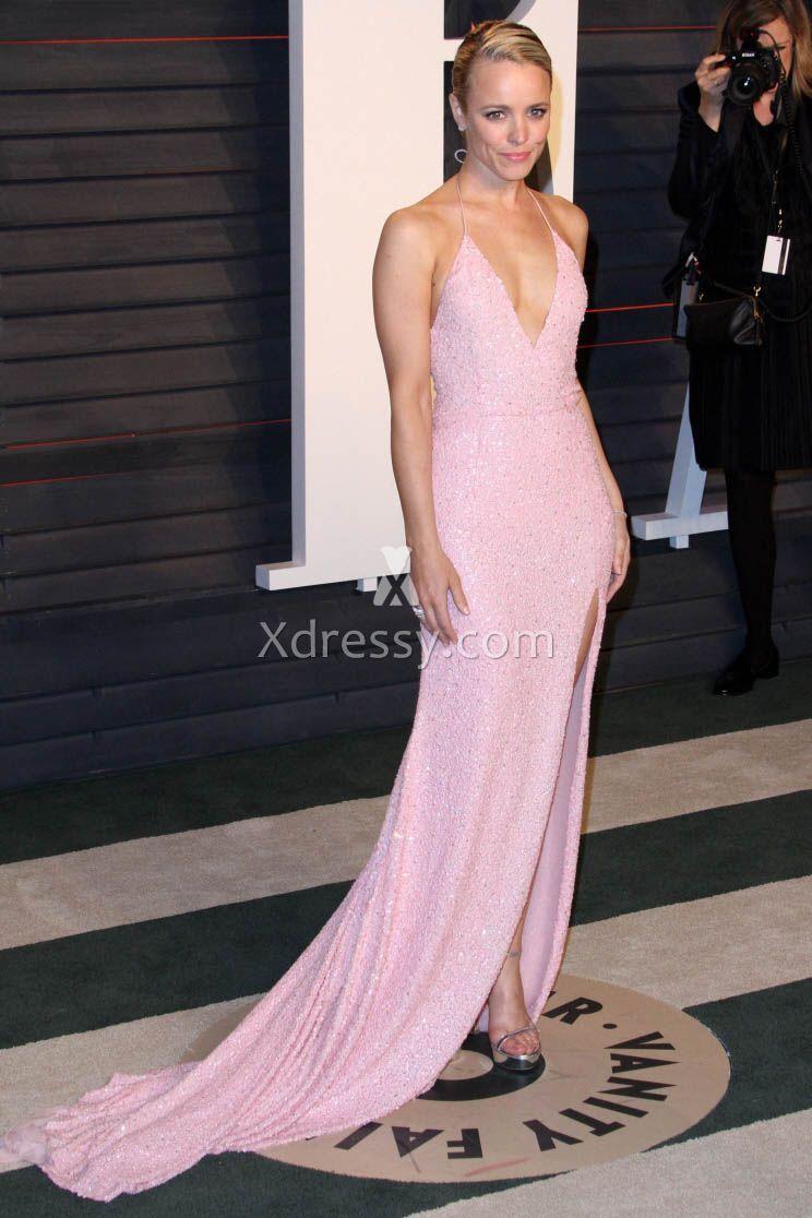 Rachel Mcadams Sequin Pink Backless Celebrity Evening Prom Dress ...