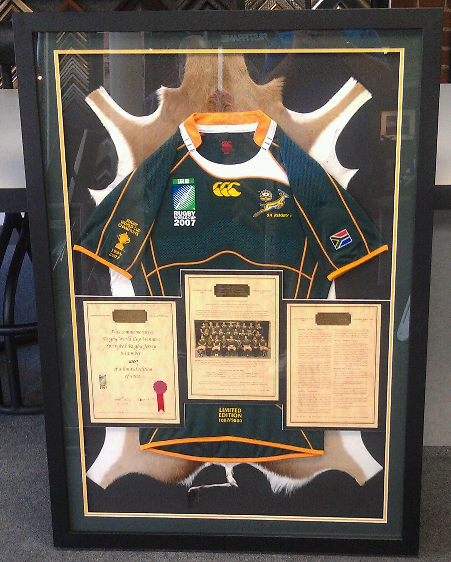 Custom framed #Rugby jersey floating on spring buck skin