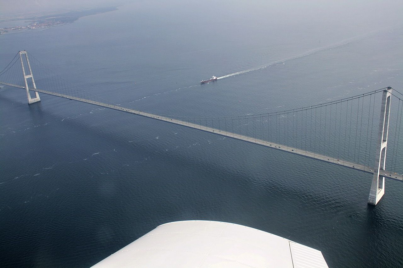 Qingdao Haiwan Bridge Great Belt Bridge Over Baltic Sea Korsor Denmark