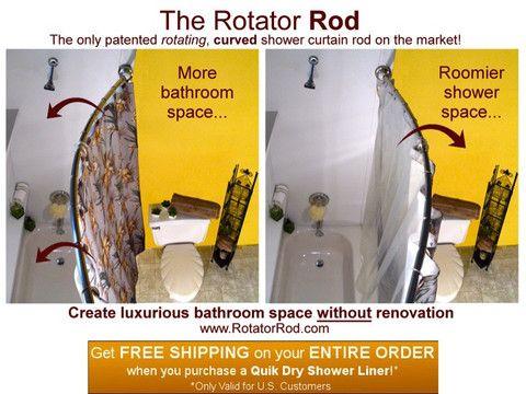 The Rotator Rod The Original Rotating Curved Shower Rod Shower Curtain Rods Shower Rod Retro Shower Curtain