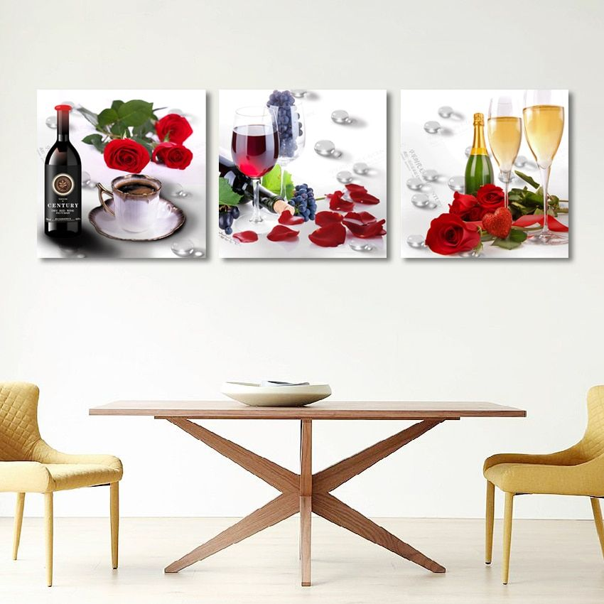 Modern Restaurant Decor Champagne Wine Posters And Prints Red Rose Flower Picture Hd Print On Canvas Kitchen Wall Art Painting Dining Room Wall Art Canvas Kitchen Wall Art Kitchen Wall Art