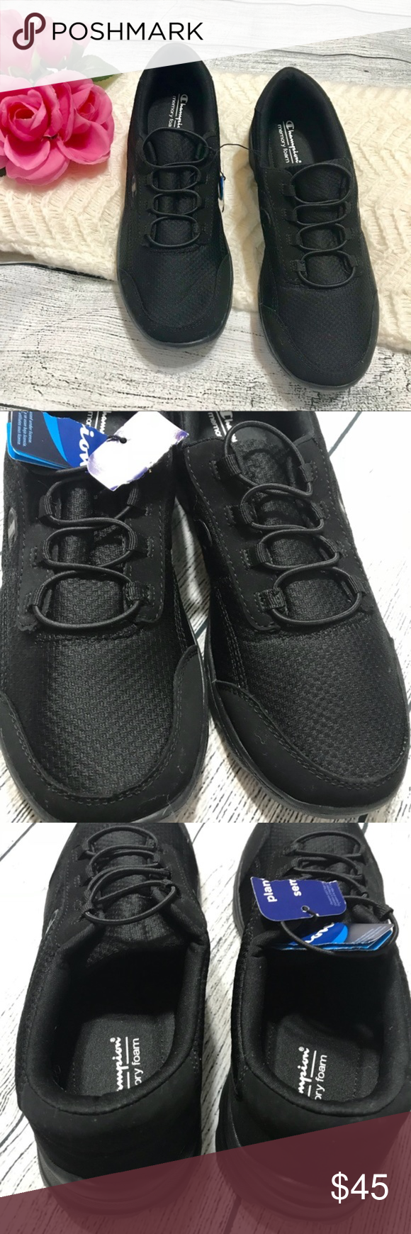 5c80c50088d Champion Women s Memory Foam Black Sneakers 7.5W Brand new with clipped  tags  Memory foam  Black  Item E793L Champion Shoes Sneakers