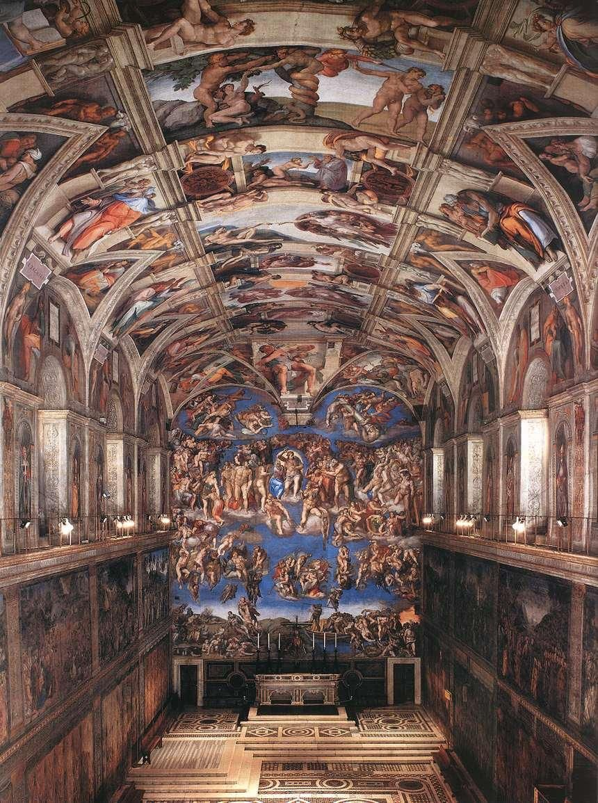 Sistine Chapel Ceiling And Altar Wall Frescoes Vatican City Italy