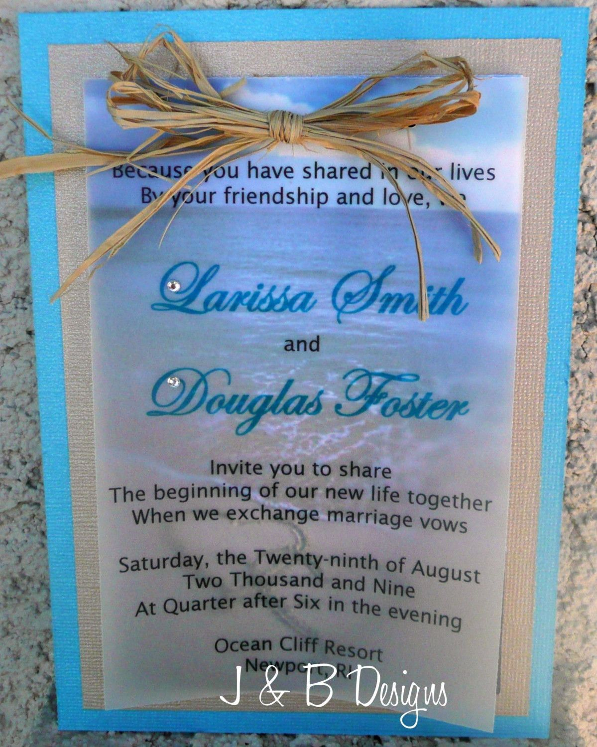 Beach Wedding Invitation - Nice wording  Beach theme wedding