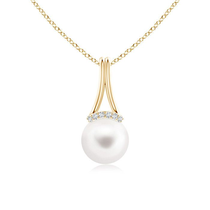 Angara Classic South Sea Cultured Pearl Halo V-Bale Pendant Az866cZfb