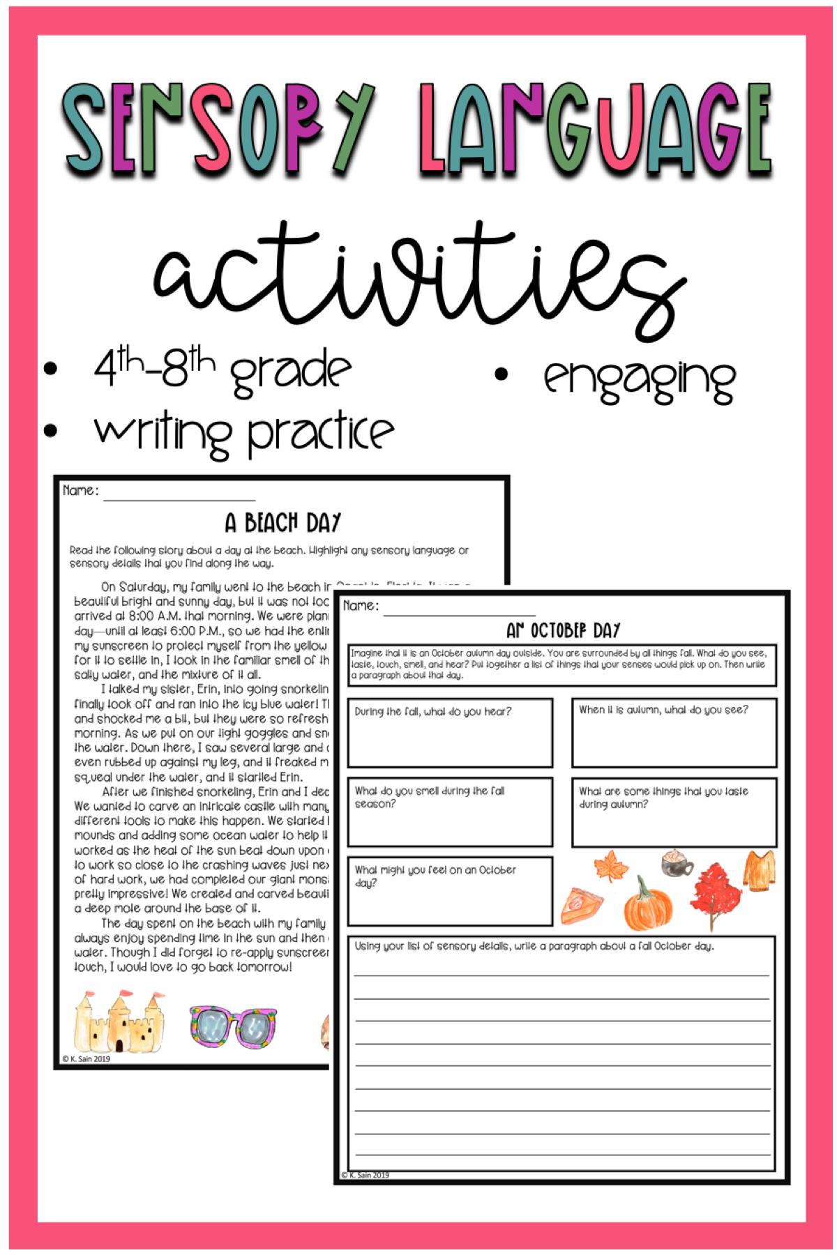 Sensory Language Activities Sensory Details