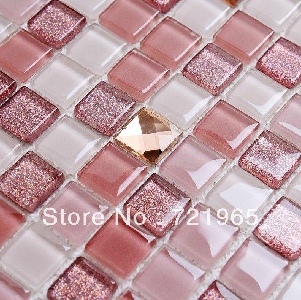 Azulejo de mosaico de vidrio Backsplash de la cocina CGMT195 rosa ...