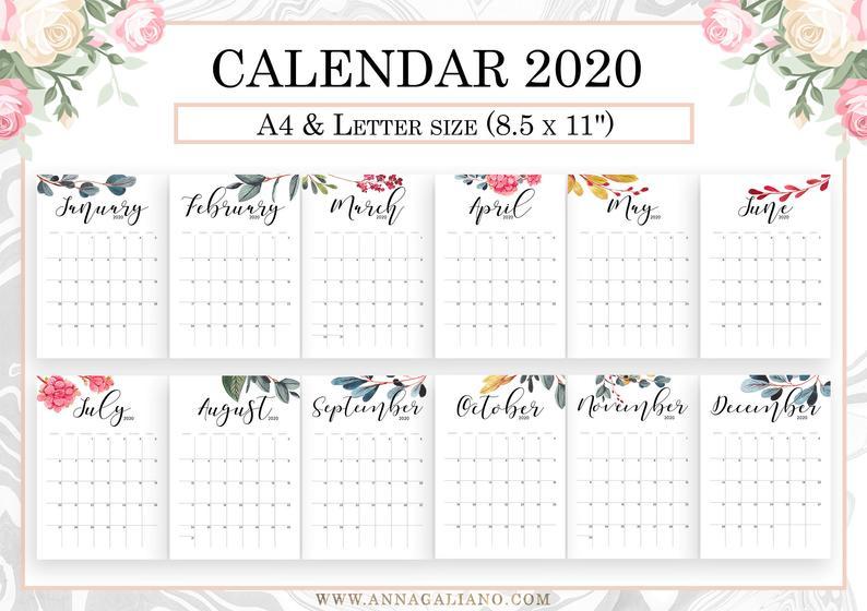 Wall Calendar Printable 2020 2021 2022 Wall Calendar Etsy In 2020 Calendar Printables Wall Calendar Calendar