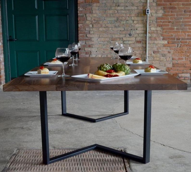 Steel Table Legs Dining Set, Dining Room Set Metal Legs