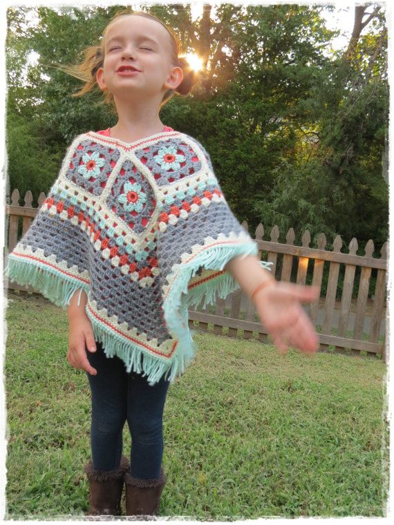 Girls Flower Poncho-Kids-Fall Fashion-Crochet Granny Square-Fringe ...