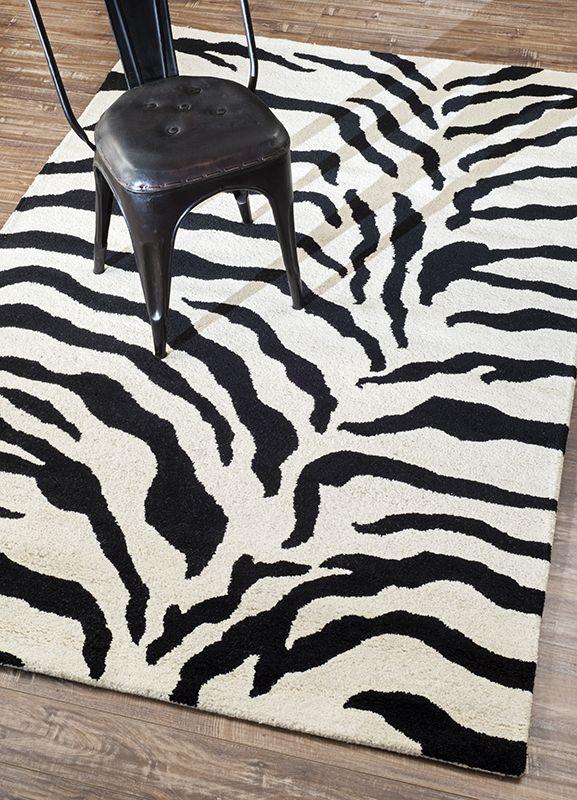 Rugs Usa Safari Hand Made Wool Zebra Print Black Rug Rugs