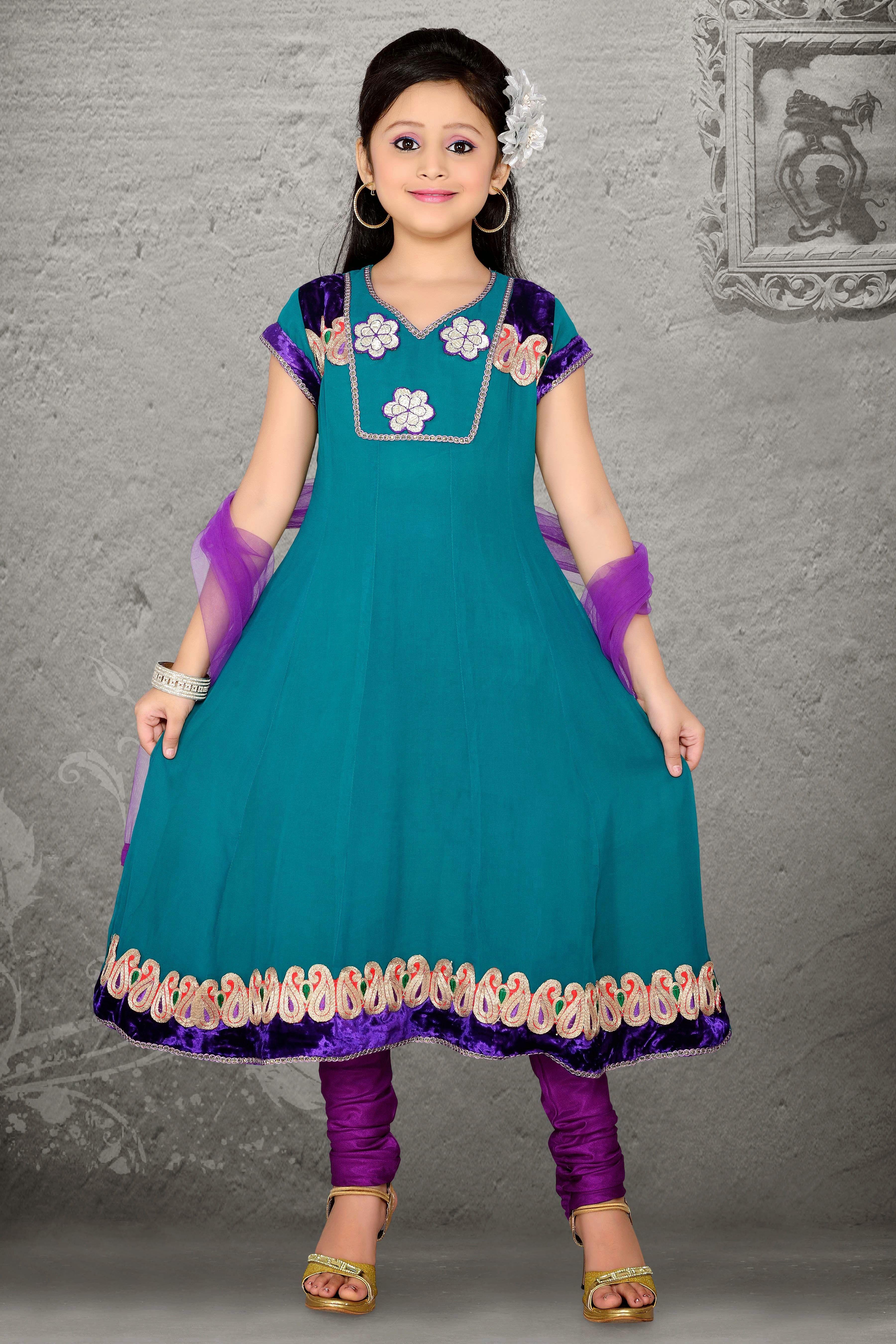 Tantalizing Teal Blue Faux Georgette Kids Anarkali Suits http://www ...