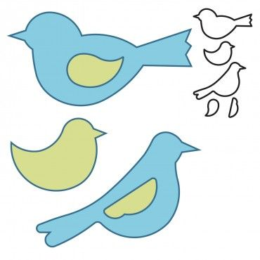 Studio Bird Trio Long Cut Aplique Infantil Desenhos