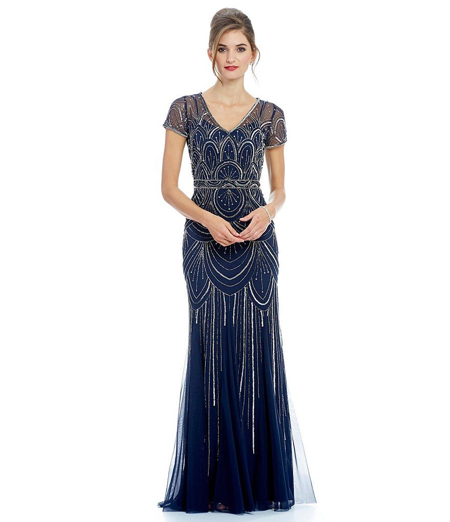 Pinterest flapper wedding dresses 1920s style and adrianna papell - Adrianna Papell Scallop Beaded Short Sleeve Gown