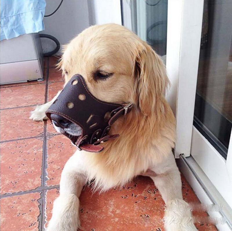 3 79 Pu Leather Dog Muzzle No Bite No Barking Dog Training Mask