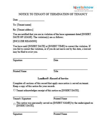 Printable Sample Eviction Notice Template Form Real Estate Forms - termination of contract letter