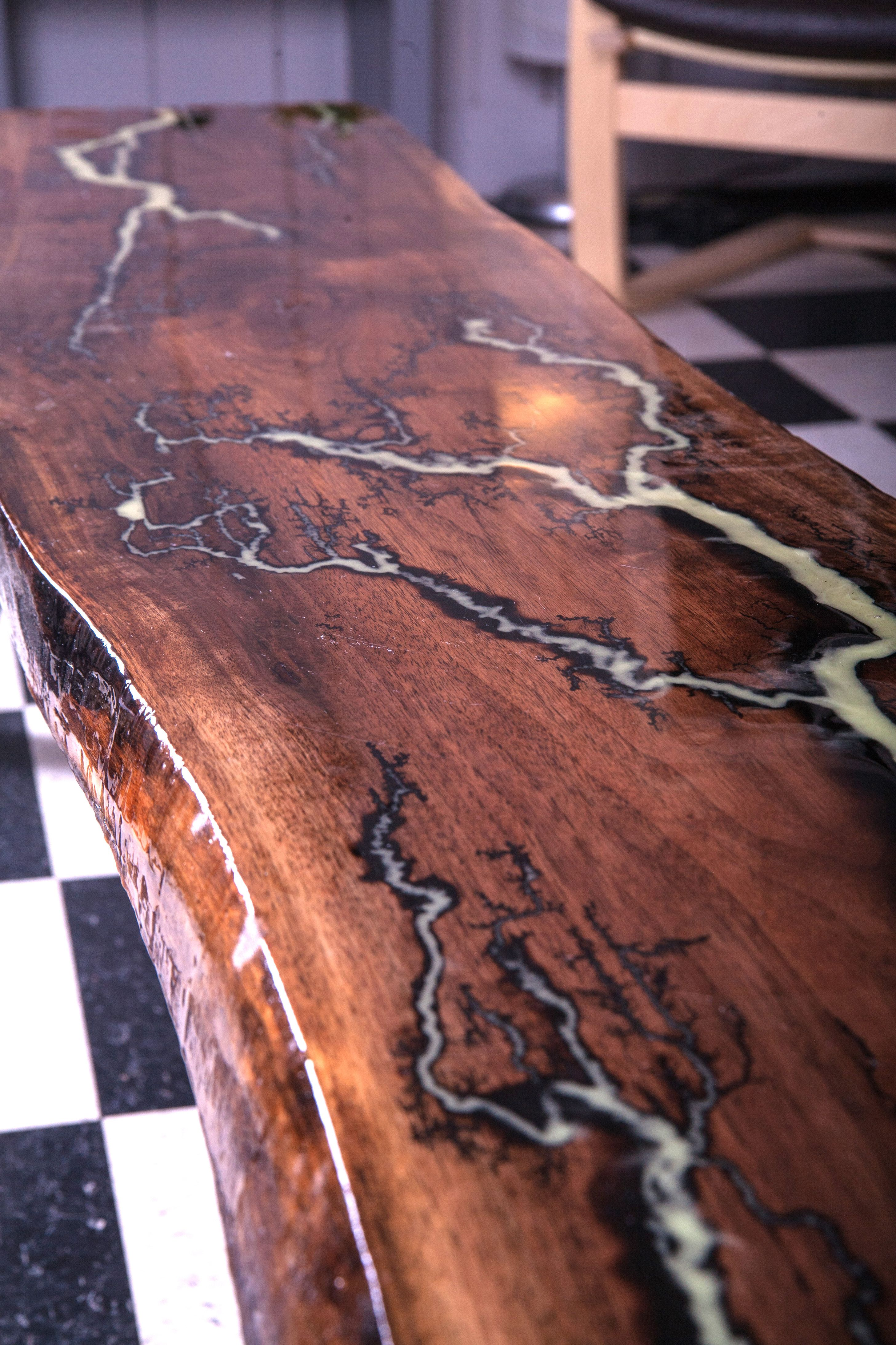 Live Edge Walnut Table With Glowing Lichtenberg Figure And Epoxy Finish.  Http://