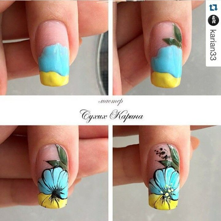 Bicolour yellow and turquoise    nail art